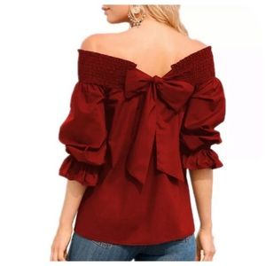 Off-The-Shoulder Back Bow Tie Blouse, S - Red